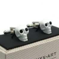 White Skull Cufflinks with Black Eyes by Onyx Art Gift Boxed CK903